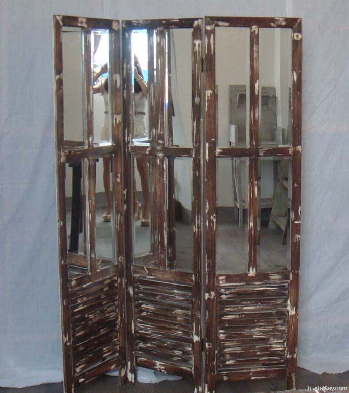 shabby chic wooden with mirror screen