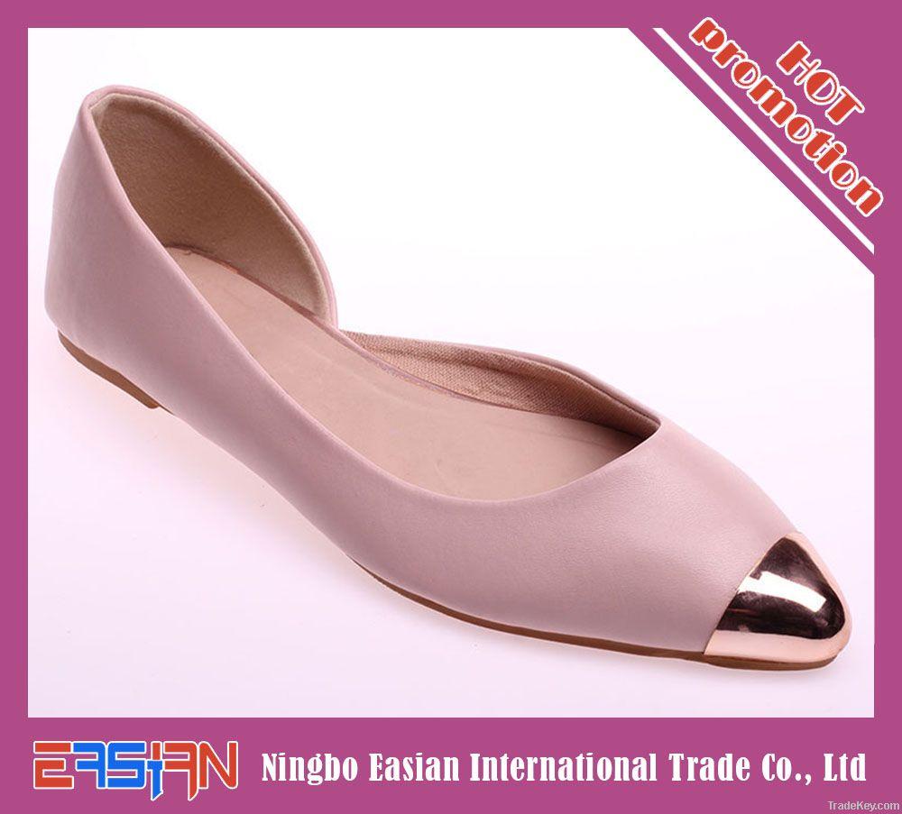 stylish metallic cap toe flat shoes