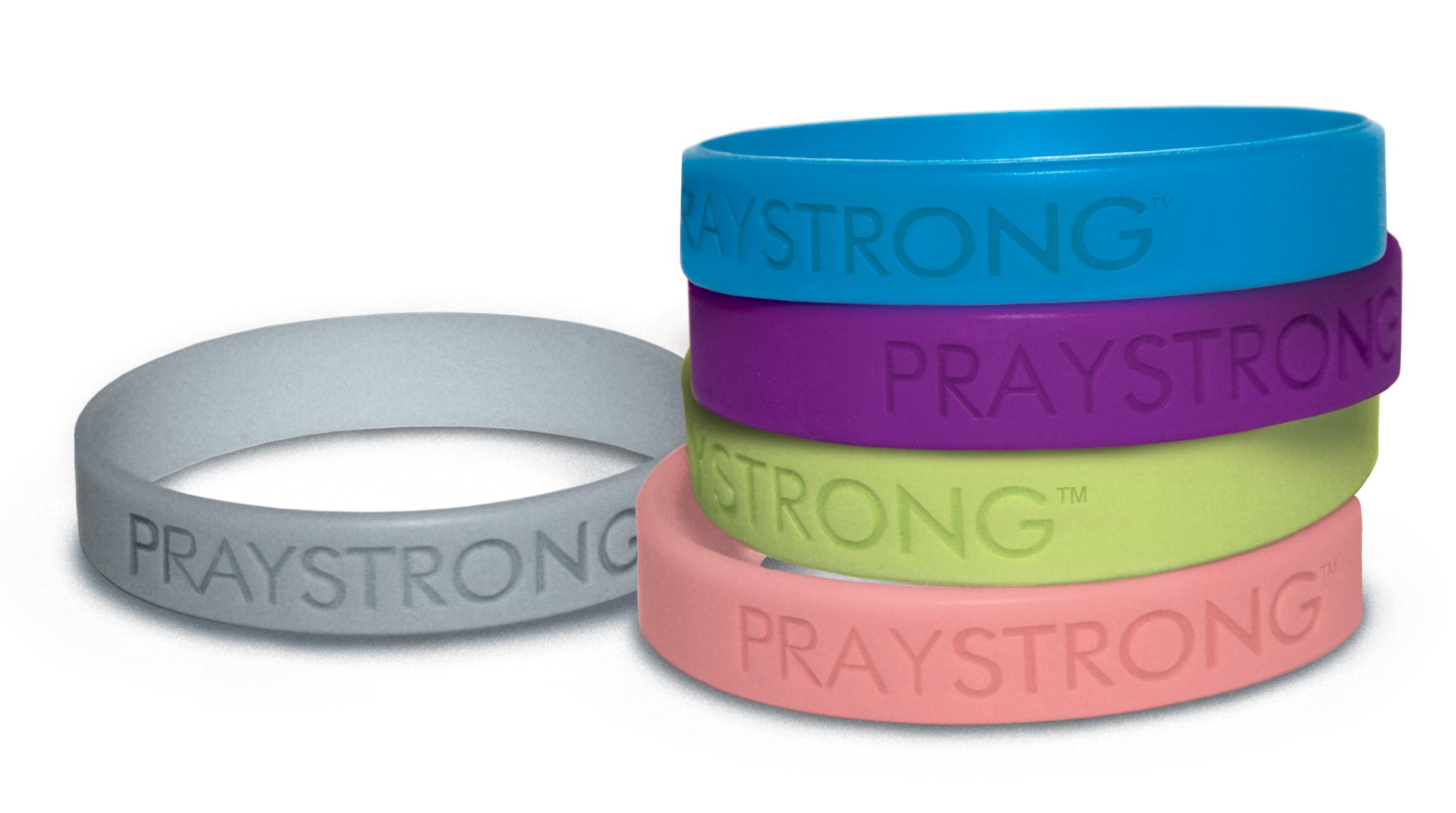 Bulk Quantity PRAY STRONG Rubber Bracelets