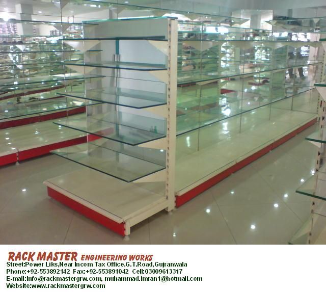 Cosmetic Rack, Crockery Rack, Glass Shelve Rack, Display Rack, Super Store rack, Warehouse Rack