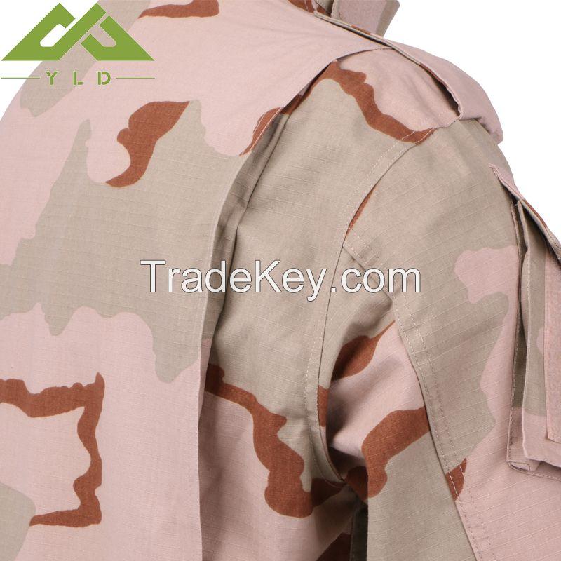 65%polyester 35%cotton Ripstop tri-color desert camo shirt and pants/combat uniform/tactical uniform