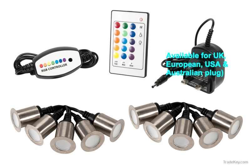 String of 10 32mm RGB LED with remote and controller