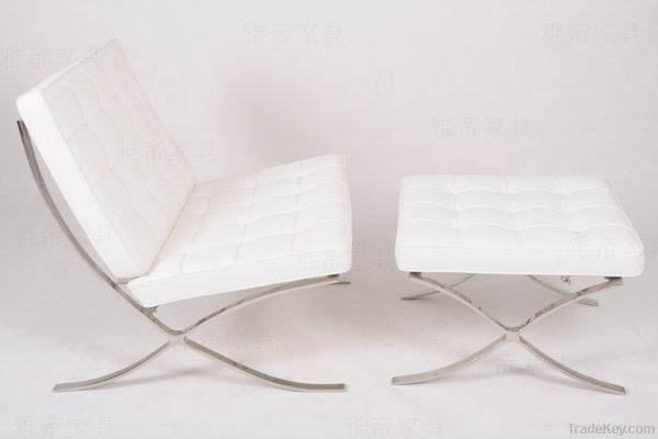 Genuine Leather Barcelona Chair And Ottoman