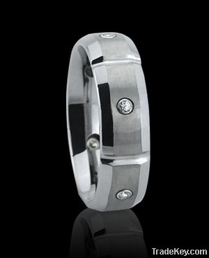 Domed Brushed tungsten rings mens