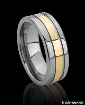 gold tungsten ring for men