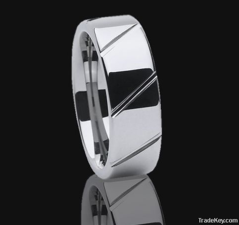 Tungsten ring for men polished and brushed