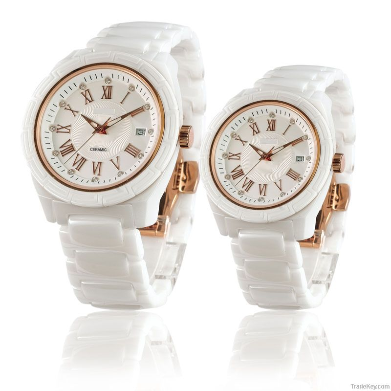 luxury white ceramic watch mens women with IPG