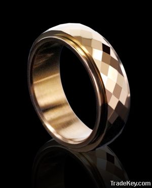 tungsten ring gold inlay