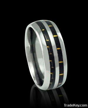8mm white carbon fiber tungsten ring