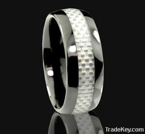 Black Ceramic ring carbon fiber inlay