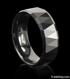 See larger image classic black faceted ceramic ring for men and women
