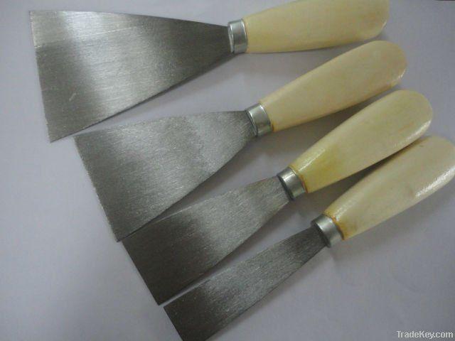 wooden handle puuty knife, carbon steel blade, scraper