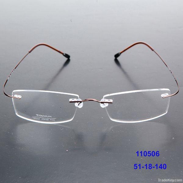 Many different lens shape rimless titanium glasses frames optical