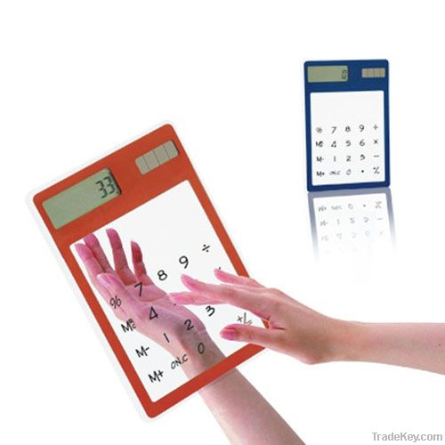 Ultra Thin Solar Power Touch Screen Transparent Promotional Calculator