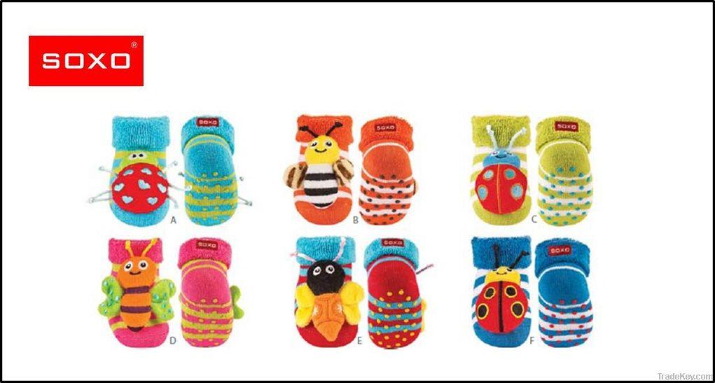 SOXO striped infant rattle socks