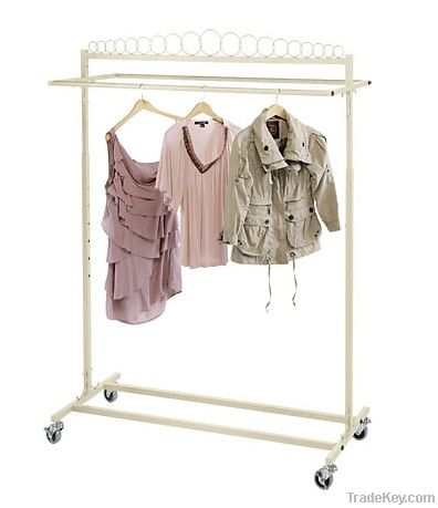 Ivory Double Rolling Rack for Hnging Clothes