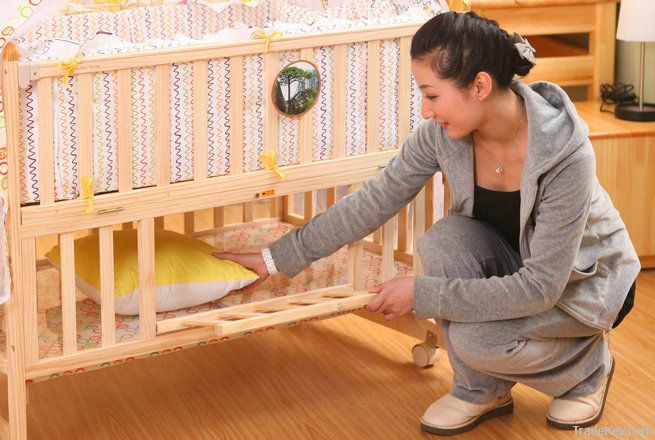 Functional baby solid wood bed