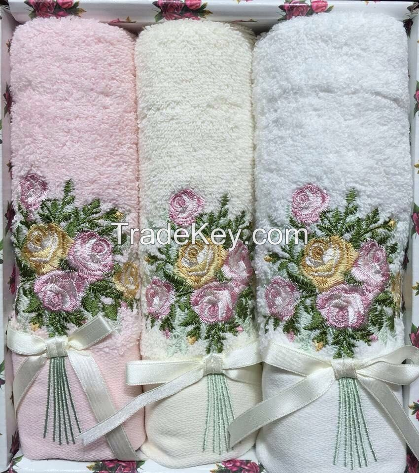 high quality 100% egyptian cotton towels/ fancy work/ clear/ for luxury home use
