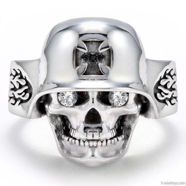 Cool Stainless Steel Gold-Plated Iron Cross German Helmet Skull Ring