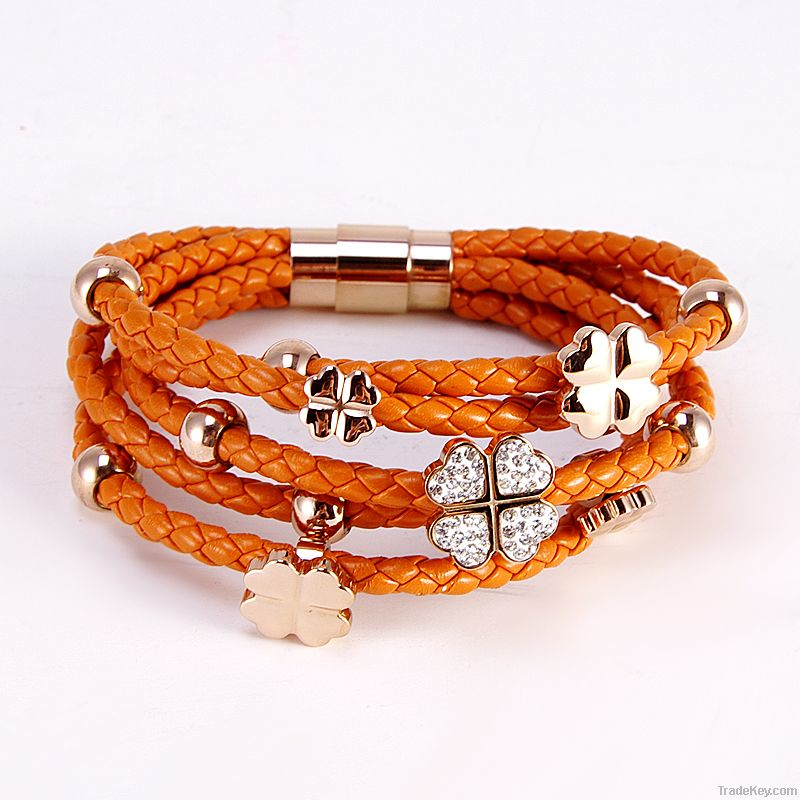 2012 Fashion Stainless Steel Braided Leather Bracelet Wholesale