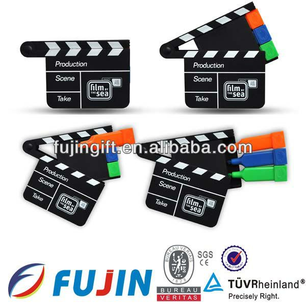 3 in 1 clapper board shaped highlighter set