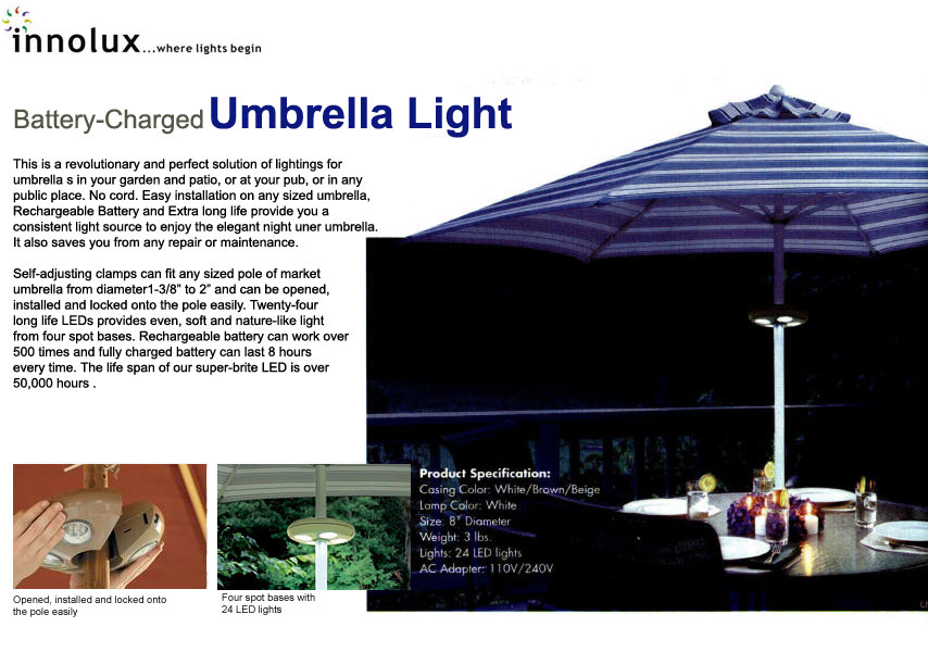 Rechargeable LED Umbrella Light