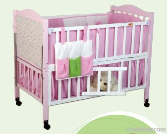 Happy Baby MC600 Pinewood Baby Bed With Mosquito Net