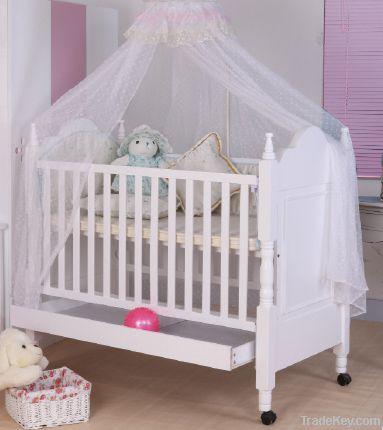Happy Baby MC625 Pinewood White Baby Crib With Drawer