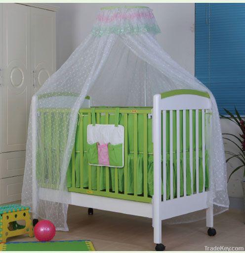 Happy Baby MC151 Pinewood White Green Baby Crib With Drawer