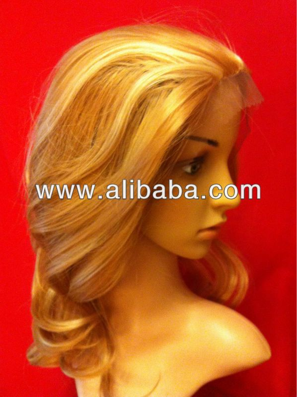 Natural Look Body Wave Lace Front Wig Medium Brown mix Light Blonde P#27/613