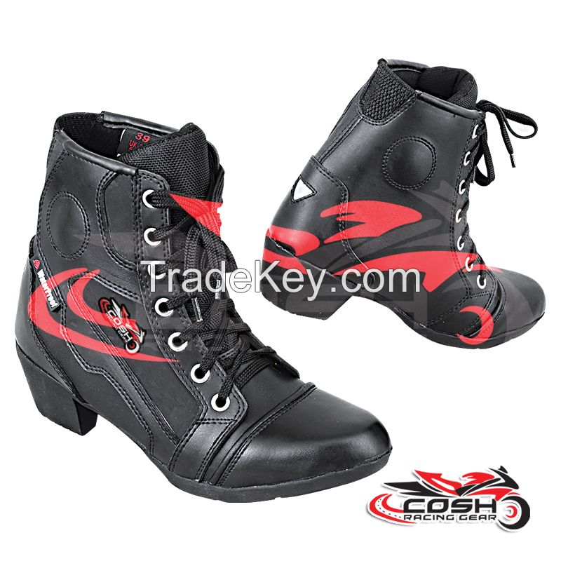 Women Touring Boots, Leather Motorbike Boots, leather Racing Boots