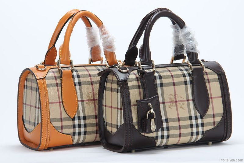Wholesale Hotest Classic grid  lady's real leahter fashion handbags