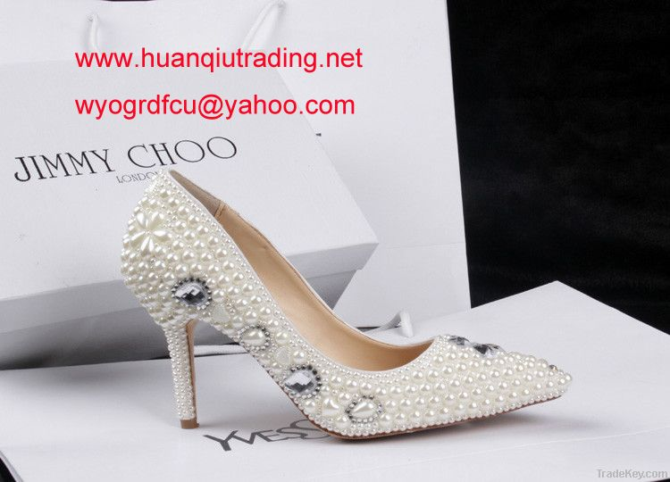 Pearl j-immy fashion diamond lady's wedding shoes pointed stiletto shoes