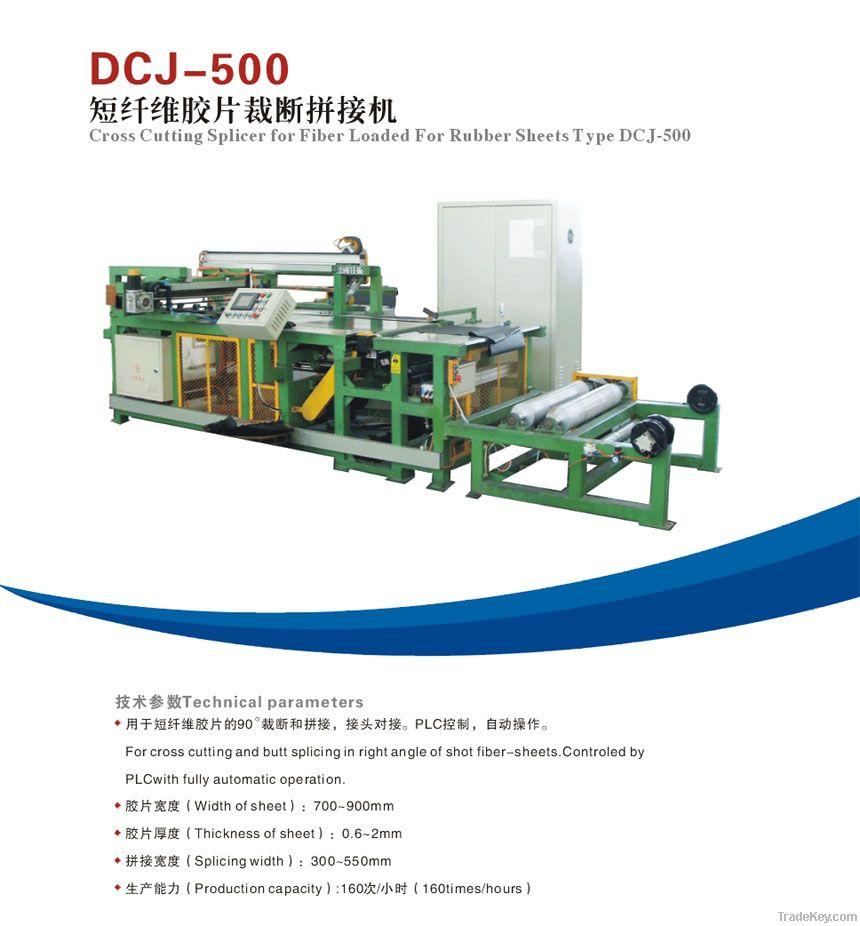 Cross cutting splicer for fiber loaded for rubber sheets
