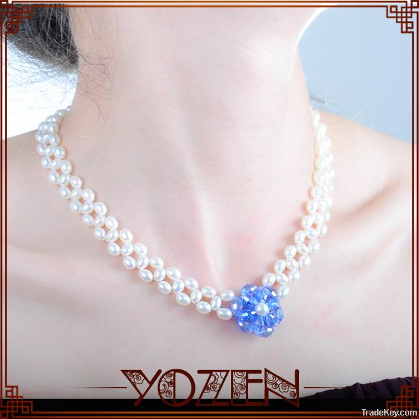 rice, alloy chain freshwater bali pearl jewelry fashion