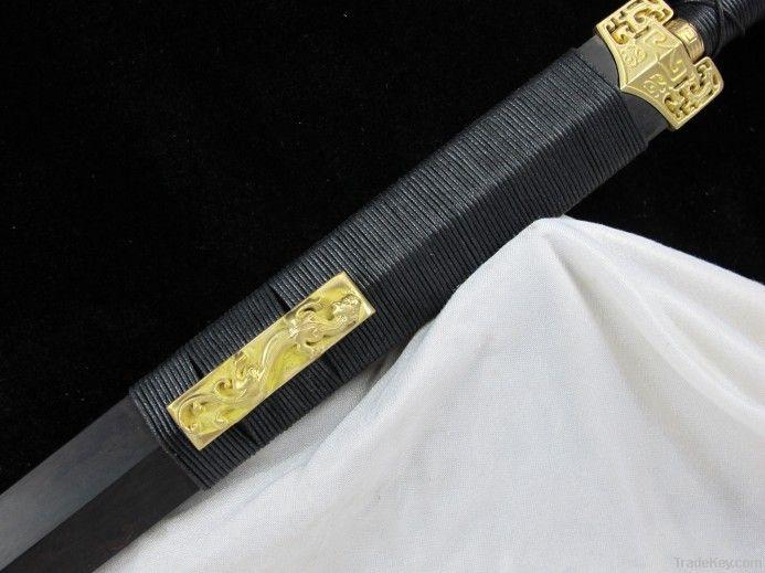 Longquan sword pattern steel blade ebony sheath eight Han Jian Wu Jing