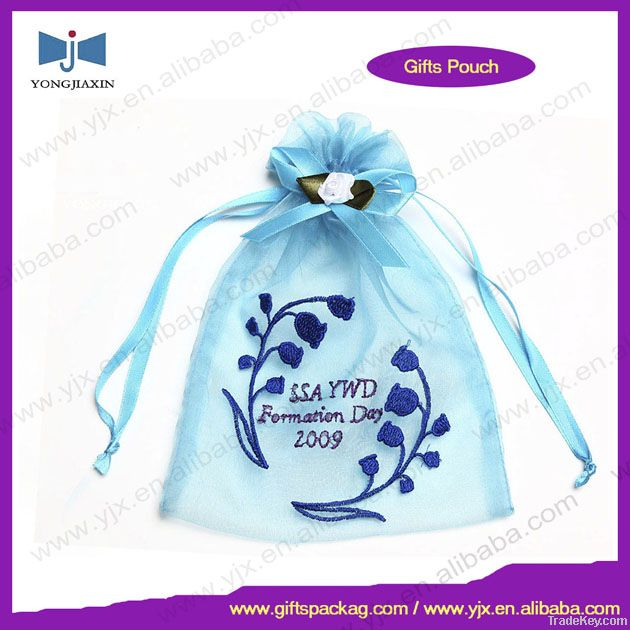 Embroidery drawstring organza bag