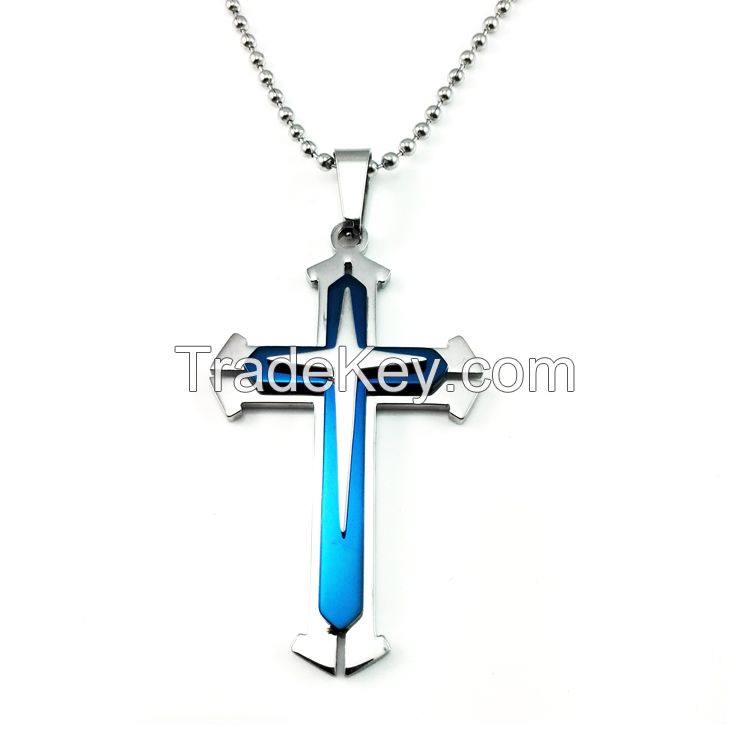 Fashion high quality Stainless Steel Cross Pendant Men's Necklace Chai