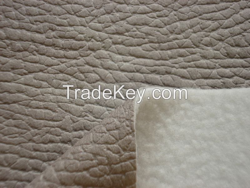 Embossed Suede Polyester Leather Fabric with Brushed Back