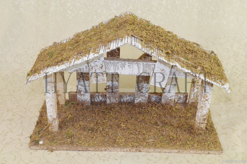 Wooden Antique Nativity Scene with Bamboo, Fence and Mos