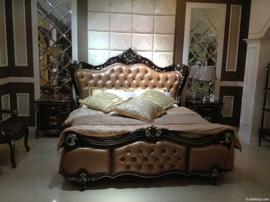 Solid wood Antique luxury bedroom set