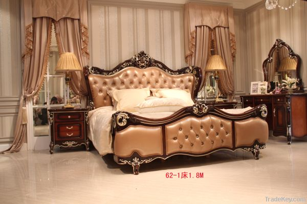 classical luxury leather bed