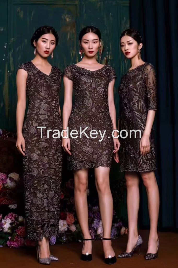 custom 2017 new original  ladies sexy embroidery lace  dress