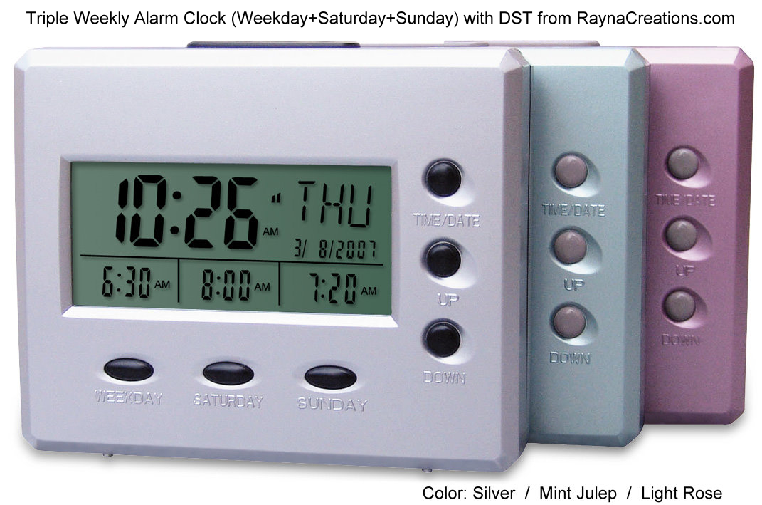 Triple Weekly Alarm Clock With Weekday Saturday Sunday Alarms And DST