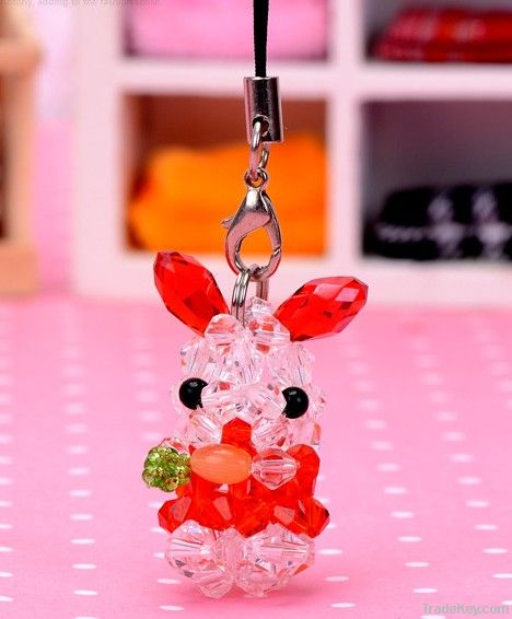 cute 4 mm tip bead turnip rabbit key ring promotional gifts