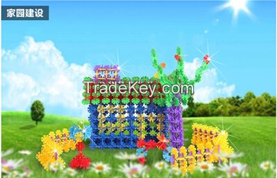 Snowflakes fight inserted blocks plastic baby assembling toys 12 color