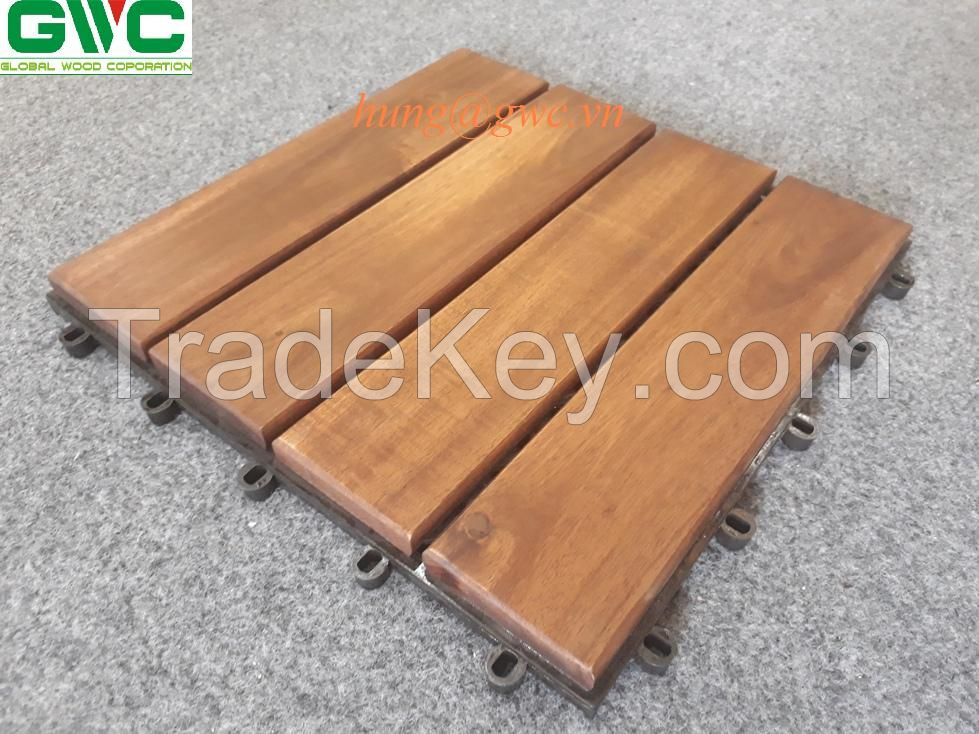 Acacia Wood Interlocking Deck Tiles Four Slats