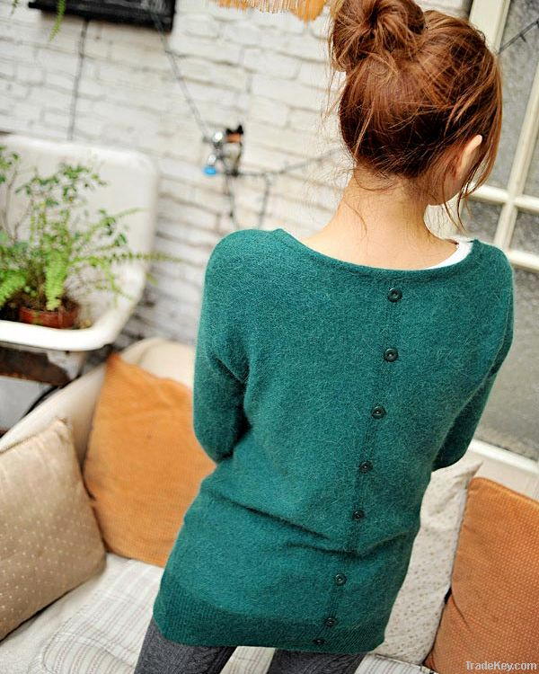 Women Button Back Rabbit Hair V Neck Long Sweater