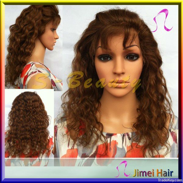 full cuticle human hair fron lace wig for lady