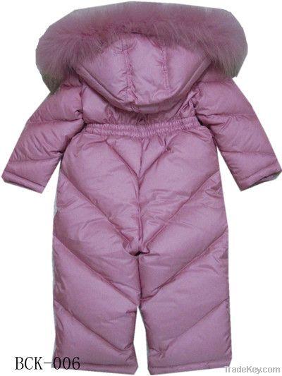 Kids Down pants, Padding Pants, Dress Pants with Real Raccoon fur hood